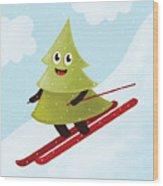 Happy Pine Tree On Ski Wood Print