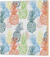 Happy Pineapple- Art By Linda Woods Wood Print