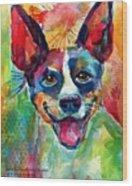 Happy Rat Terrier Watercolor Portrait Wood Print