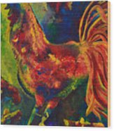 Happy Rooster Family Wood Print