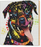 Happy Rottweiler Wood Print