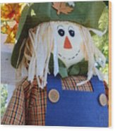 Happy Scarecrow Wood Print
