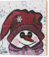 Happy Snowmen Wood Print