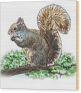 Happy Squirrel  Wood Print