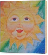 Happy Sun Wood Print