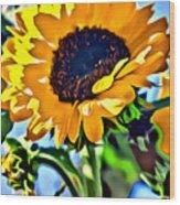 Happy Sunflower Wood Print