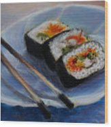 Happy Sushi Wood Print
