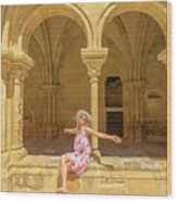 Happy Tourist Visits Coimbra Wood Print