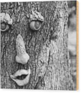Happy Tree In Black And White Wood Print