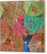 Happy Umbrellas Wood Print