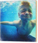 Happy Under Water Pool Boy Square Wood Print
