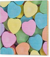 Happy Valentines Day With Colorful Heart Shaped Candies Wood Print