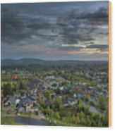 Happy Valley Residential Neighborhood During Sunset Wood Print