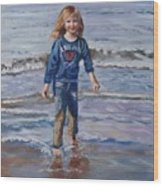 Happy With Sea And Sand Wood Print
