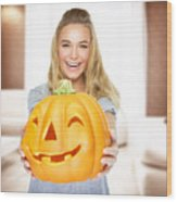 Happy Woman On Halloween Party Wood Print