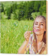 Happy Woman Outdoors Wood Print