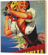 Happy Woman With Flowers, Festival In Ventimiglia, Italy Wood Print