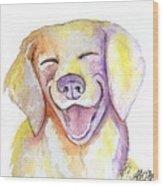 Happy Yellow Dog Wood Print