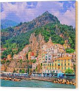Harbor At Amalfi Wood Print