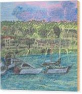 Harbor At Halesite Wood Print