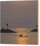 Harbor At New Buffalo Michigan At Sunset Wood Print