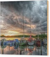 Harbor Fire Reflections Wood Print