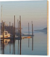 Harbor In Fog Wood Print