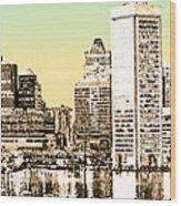 Harbor Lights From Federal Hill - Drawing Fx Wood Print