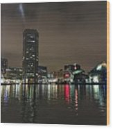 Harbor Lights In Baltimore Wood Print