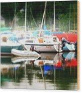 Harbor Masts Wood Print