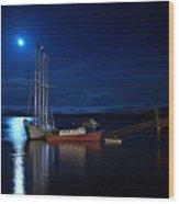 Harbor Moon Wood Print