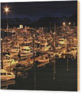 Harbor Night Wood Print
