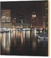 Harbor Nights - Baltimore Skyline Wood Print