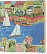 Harbor Of Gardens  Wood Print by Karen Fields
