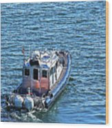 Harbor Police Patrol Boat Wood Print