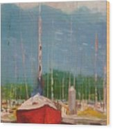 Harbor Red Wood Print