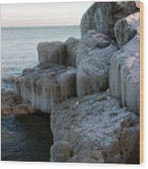 Harbor Rocks In Ice Wood Print by Kathy DesJardins