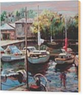 Harbor Sailboats At Rest Wood Print