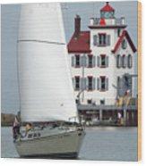 Harbor Sailor Wood Print