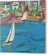 Harbor Sails Wood Print