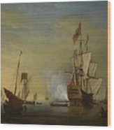 Harbor Scene An English Ship With Sails Loosened Firing A Gun Wood Print