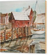 Harbor Scene New England Wood Print