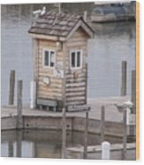 Harbor Shack Wood Print