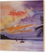 Harbor Sunset Kauai Hawaii Wood Print