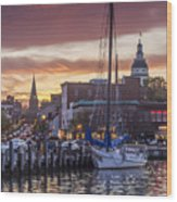 Harbor Sunset Wood Print