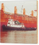 Harbor Tugboat Wood Print by Fred Jinkins