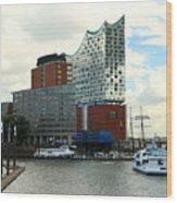 Harbor View With Elbphilharmonie Wood Print