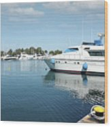 Harbor With Yacht And Boats Wood Print