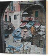Harbor's Edge In Riomaggiore Wood Print