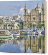Harborside Msida Malta Wood Print
